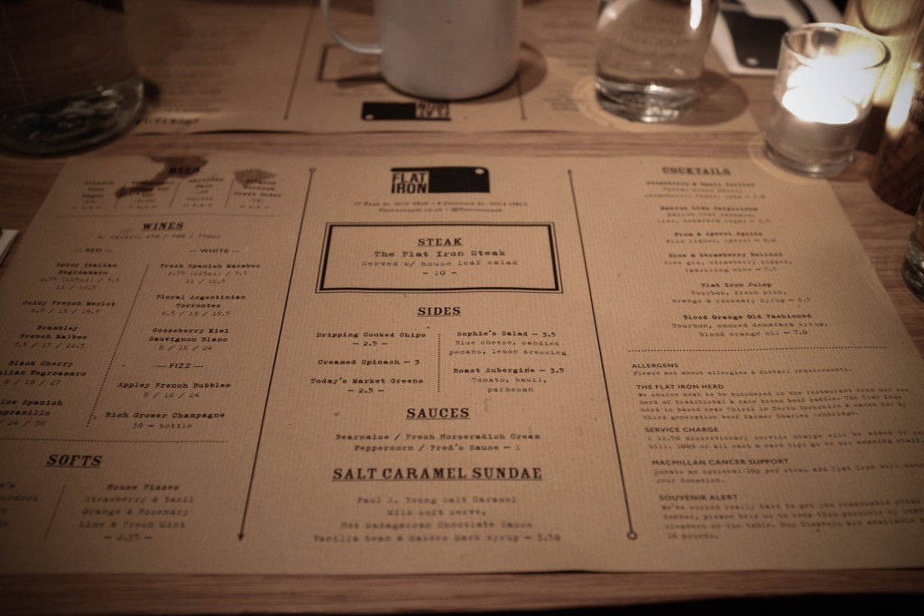 flat iron london menu