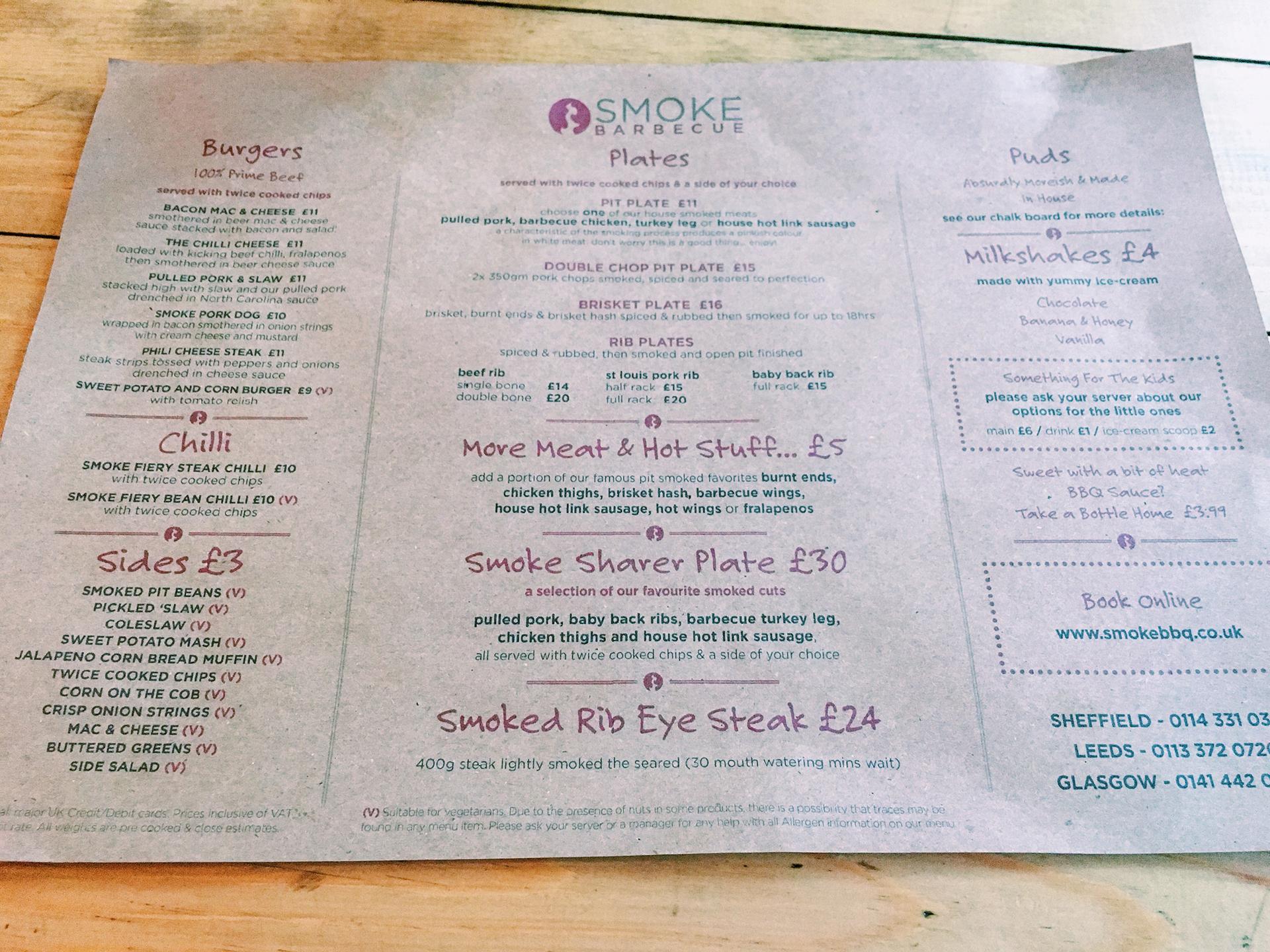 smoke bbq menu