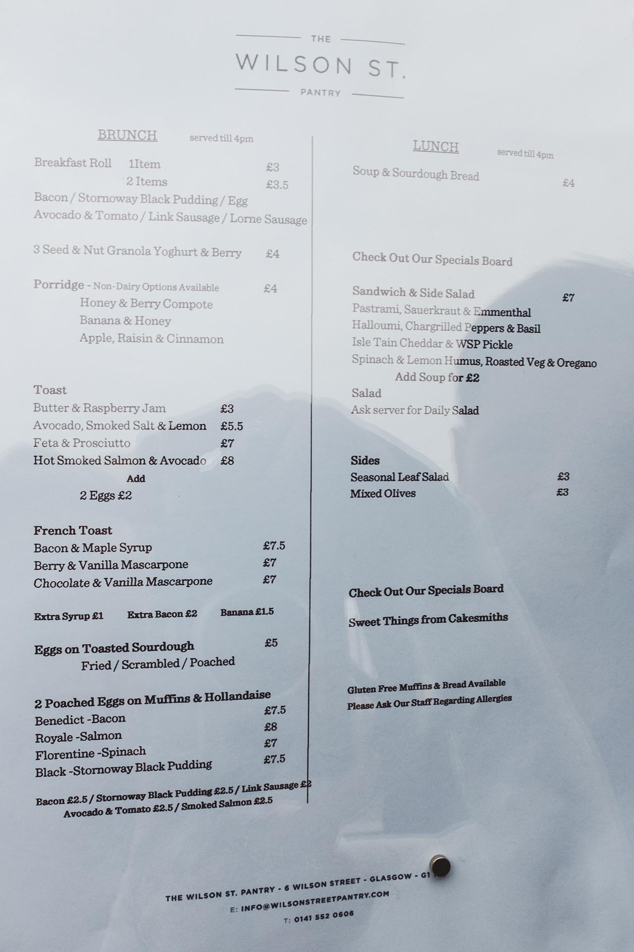 wilson street pantry menu